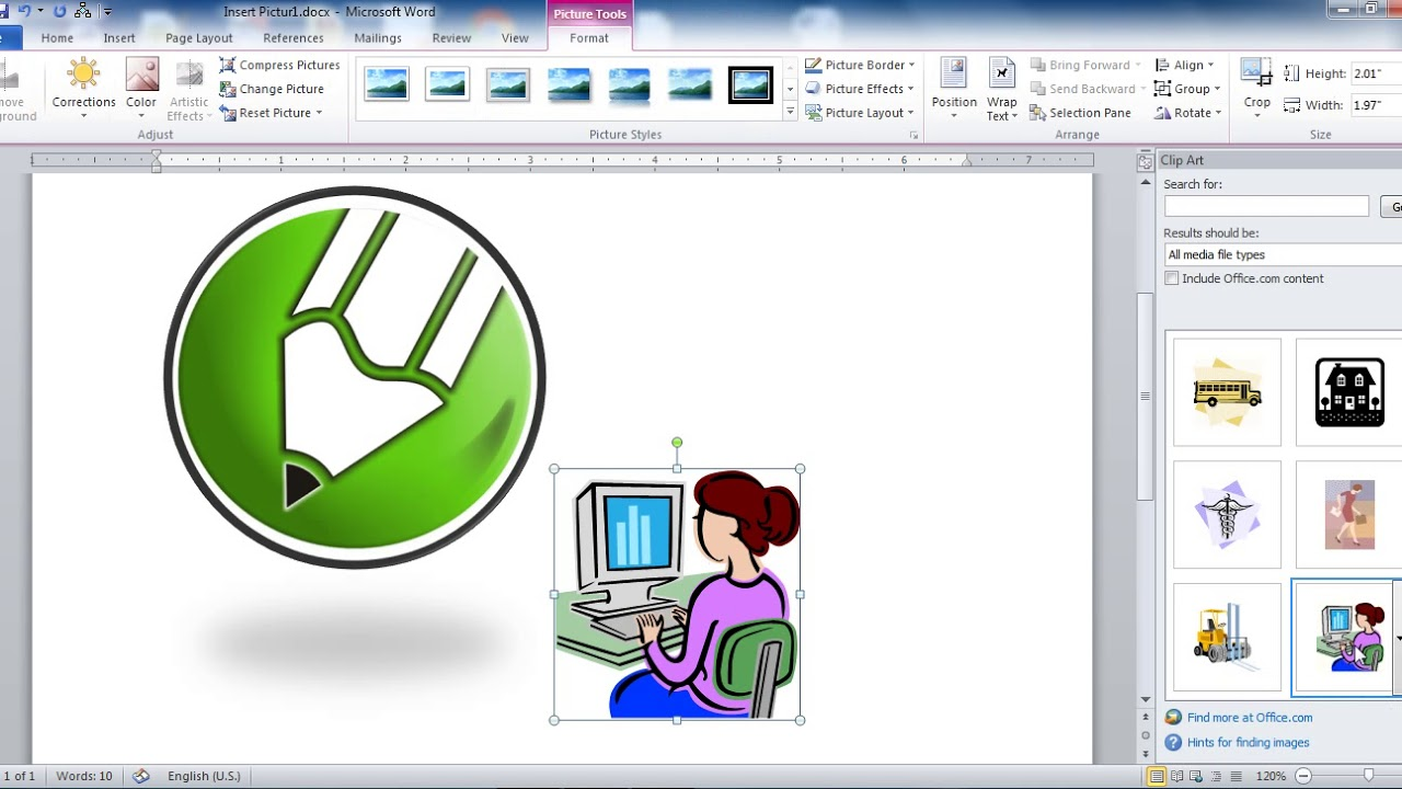Insert Picture Clip art and Smart Art in Ms Word in Hindi