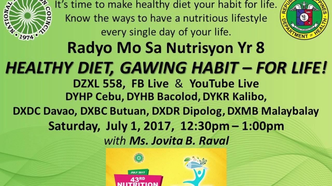 healthy diet gawing habit   for life sa radyo mo sa