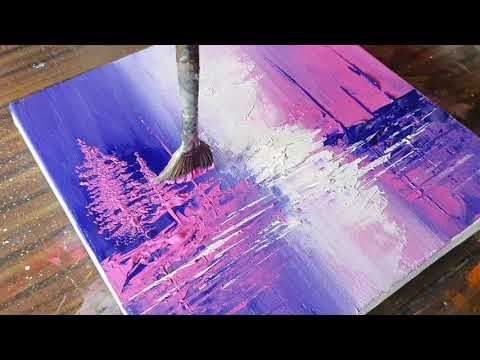 Abstract Painting / Landscape/Blue & Pink/Easy for beginners/Relaxing/Daily Art Therapy/Day #0169