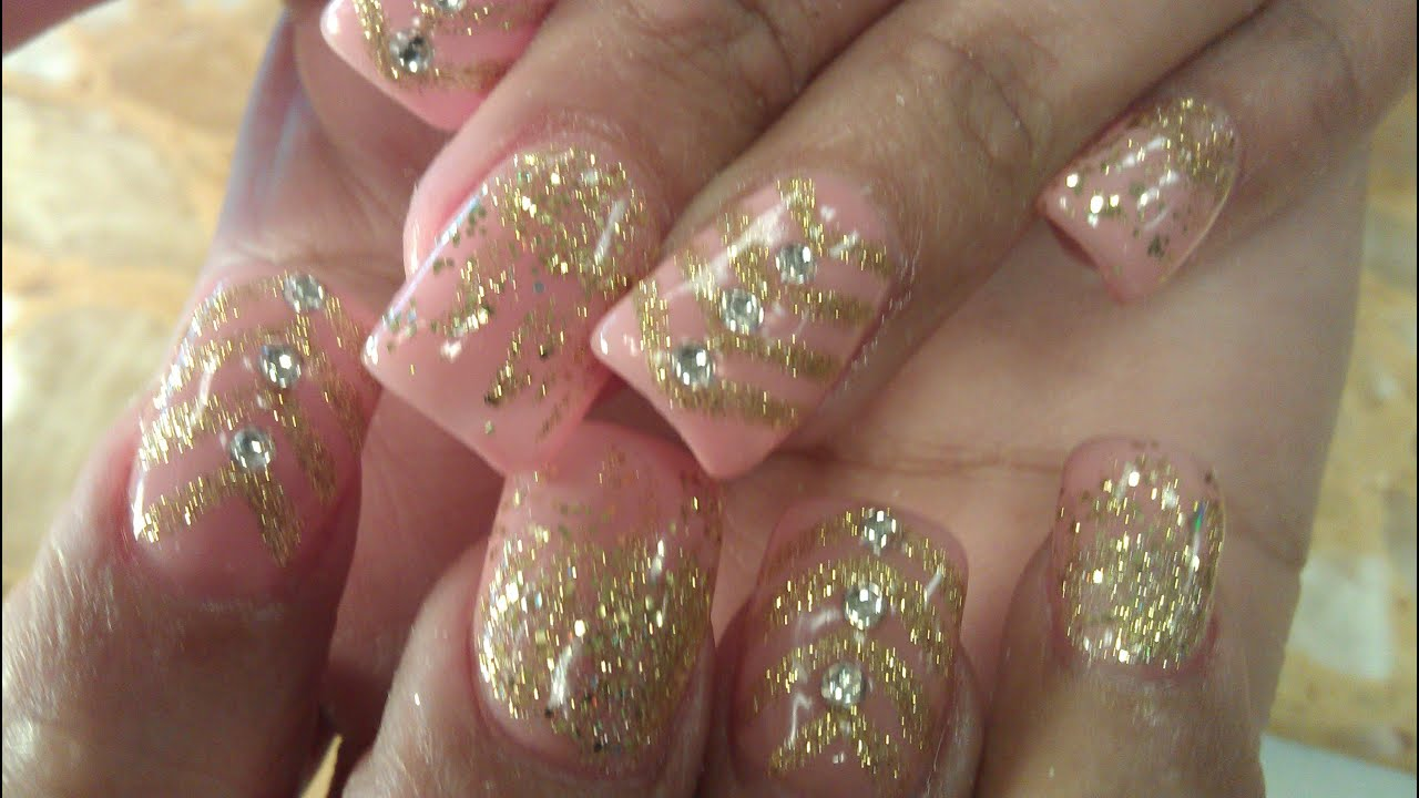 HOW TO GEL COLOR GOLD GLITTER NAIL DESIGNS PART 1
