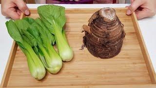 素食家常菜料理│芋頭簡單好吃的作法,加3棵青江菜,不用燉,口感鮮脆又入味,好吃到吃光光│Vegan Recipe │EP176