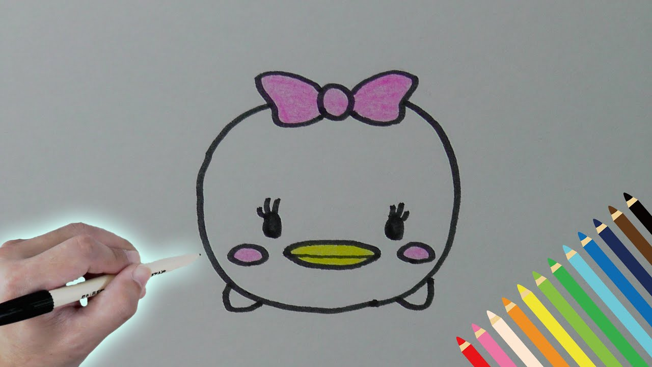 簡単お絵かき!デイジーDaisyの描きかた ツムツムのキャラクター描いてみよう!How To Draw Tsum Tsum Friends ,  YouTube