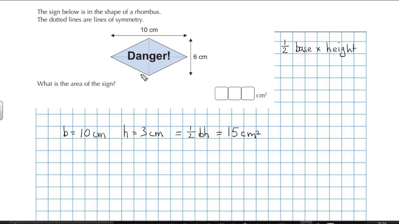 Calculate The Area Of A Rhombus Shaped Danger Sign