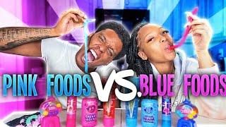 ASMR PINK VS BLUE FOOD, GIANT ROCK CANDY, SOUR GEL, LASER POP, GALAXY ROCKS CANDY MUKBANG 빨간색 파란색 음식