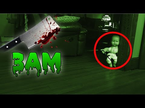 (GONE WRONG) 3 AM OVERNIGHT CHALLENGE // ONE MAN HIDE AND SEEK WITH SCARY BABY DOLL! (IT CHASED US)
