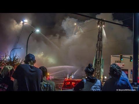Three alarm fire  at furniture store in Everett, WA. September 25, 2017