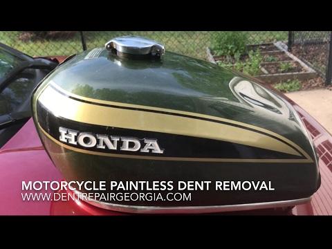 Motorcycle Gas Tank Dent Repair With Fiberglass Creas