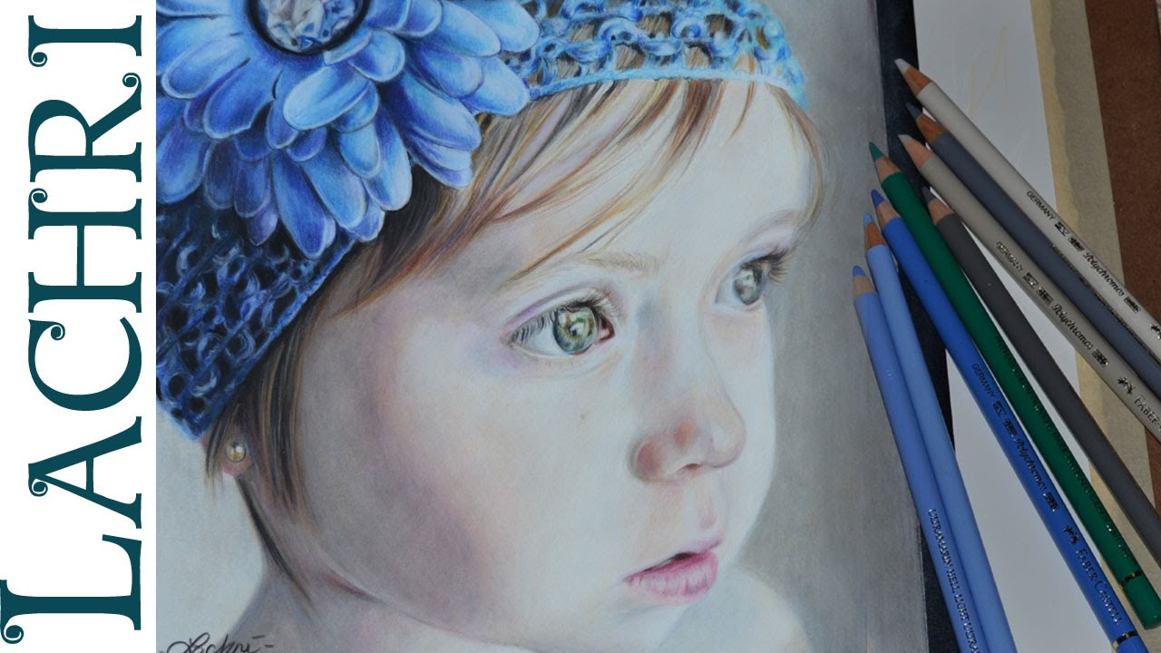 Drawing a child in colored pencil portrait tutorial by lachri