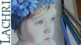 Drawing a child in colored pencil - portrait tutorial by Lachri