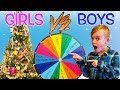 Mystery Wheel Christmas Challenge! Girls vs Boys Christmas Tree Decorating!