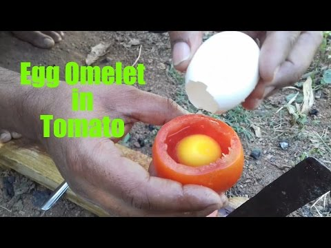 How To Cook An Egg Omelette In A Tomato / Rare Recipe / Wild Survival Style / my village food