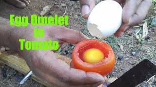 How To Cook An Egg Omelette In A Tomato / Rare Recipe / Wild Survival Style / my village food thumbnail