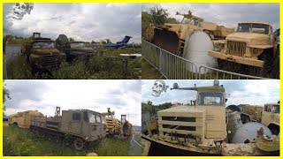 Abandoned Construction Machinery Graveyard. Abandoned Trucks and Heavy Equipment 2018
