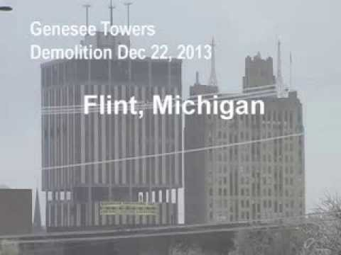 Genesee Towers Demolition Downtown Flint , Michigan