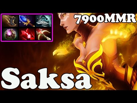 Dota 2 - Saksa 7900 MMR Plays Lina - Ranked Match Gameplay