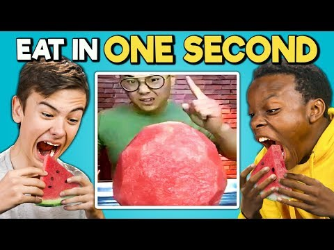 Try To Eat In 1 Second Challenge (Speed Eating)   Teens & College Kids Vs. Food