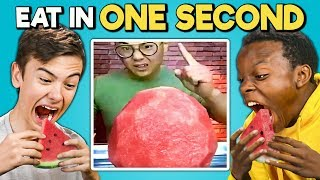 Download Try To Eat In 1 Second Challenge (Speed Eating) | Teens & College Kids Vs. Food Mp3 and Videos