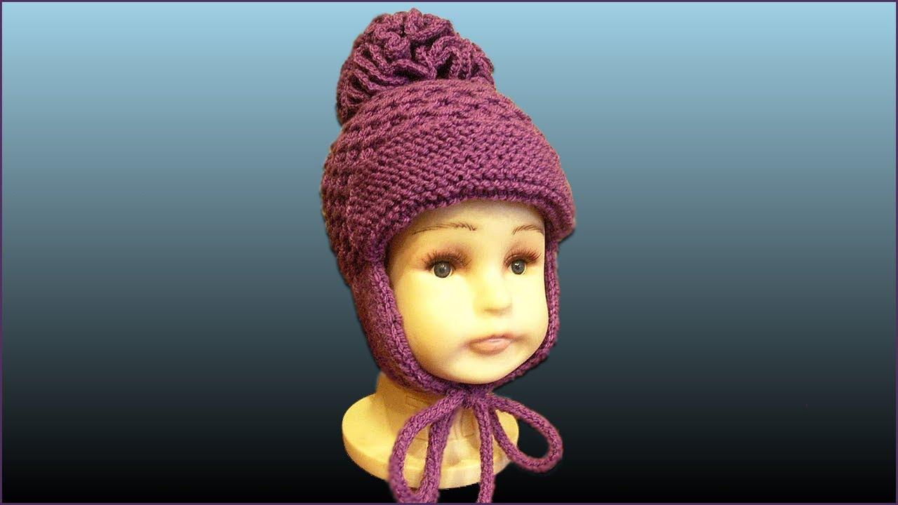 шапка с ушками детская шапка спицами вязание шапки спицами ч 2