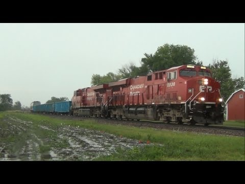 Canadian Pacific train during hailstorm in...