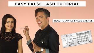 EASY FALSE LASH TUTORIAL   how to apply false lashes