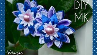 Резинка для волос с цветком канзаши из атласных лент/ Scrunchy with flower of satin ribbons kanzashi