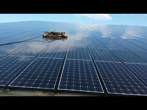 SolarCleano robotic solar panel cleaning process on 25° photovoltaic panels