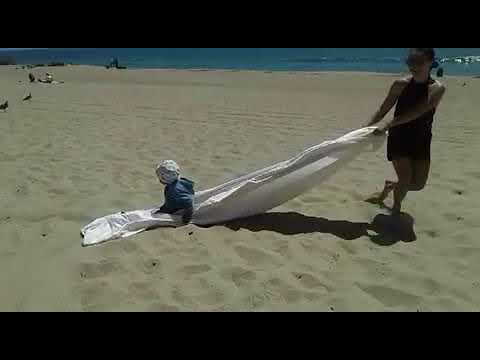 Dragging max on the beach
