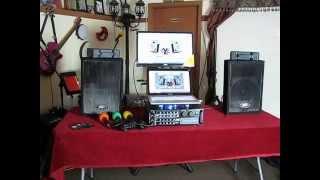 Karaoke home system with easy hookups for a karaoke laptop or karaoke ipod, smartphone, ipad
