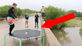 INSANE TRAMPOLINE FLIPS OFF A BRIDGE!