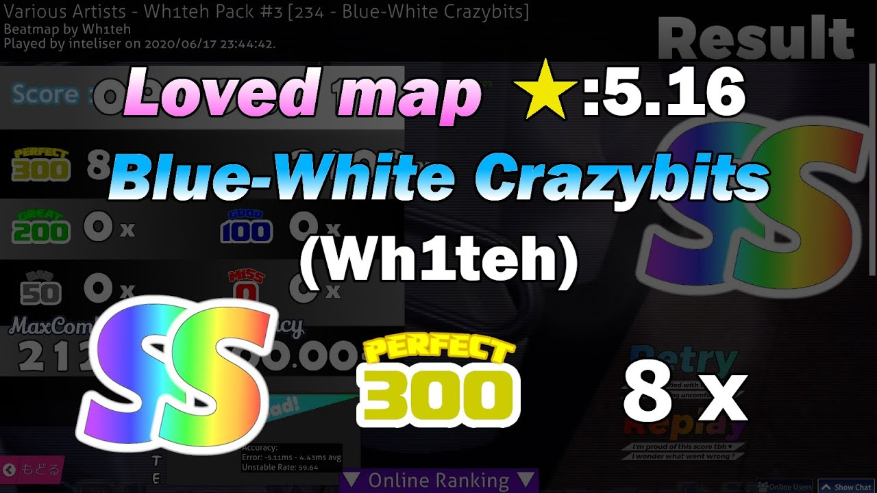 [osu!mania] Blue-White Crazybits (Wh1teh) SS // 999,881