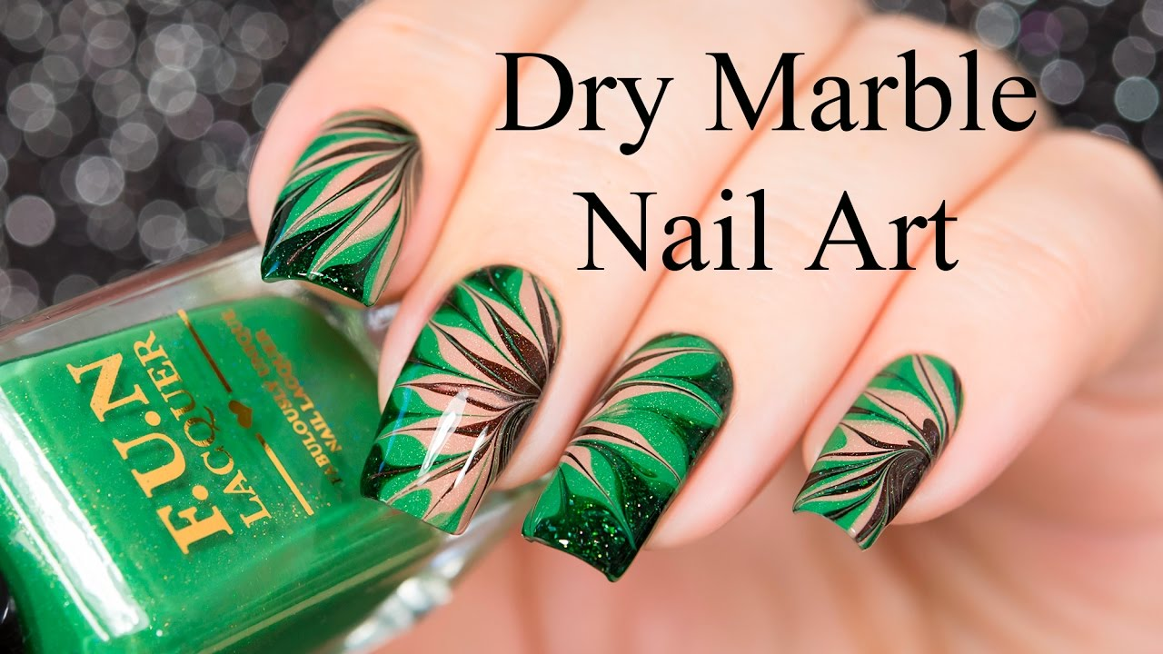 Dry Marble Nail Art - YouTube