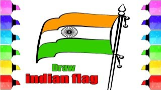indian flag drawing - how to draw national flag of india step by step | Drawing Extra
