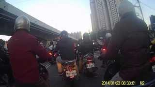 2014年1月23日,大漢橋機車追撞 (板橋往新莊方向)從4分10秒開始