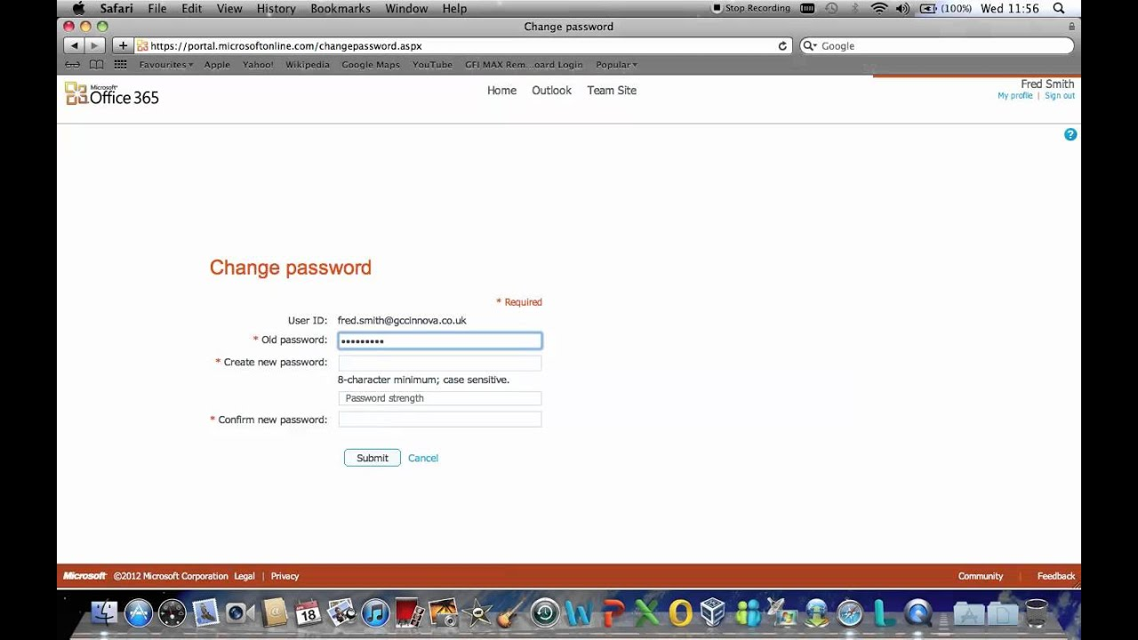 Microsoft Office 365 individual users password change - YouTube