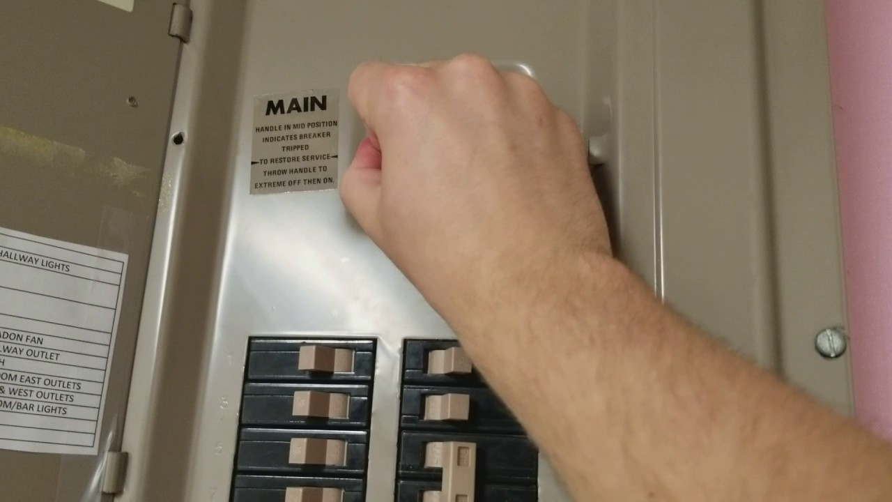 Main Breaker Wont Turn Off Youtube To Reset A Tripped Fuse In Circuit Plumbing Electric