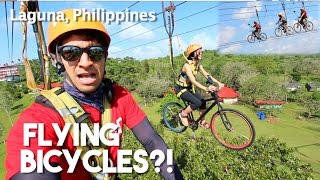 Intense Sky Bicycle Zipline! (ONLY IN THE PHILIPPINES)