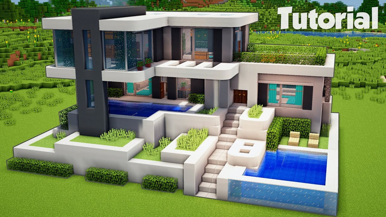 Minecraft How To Build A Large Modern House Tutorial Easy Youtube