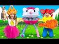 Sasha y Max juegan con un nuevo barbacoa de Hello Kitty