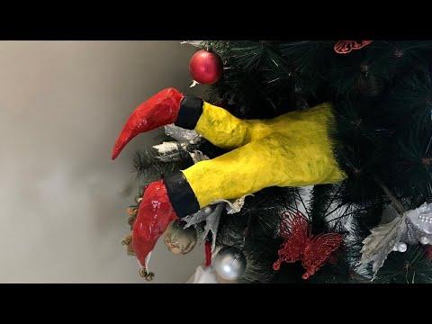 """DIY: """"Elf Stuck in Tree"""" Paper Mache Christmas Decor"""