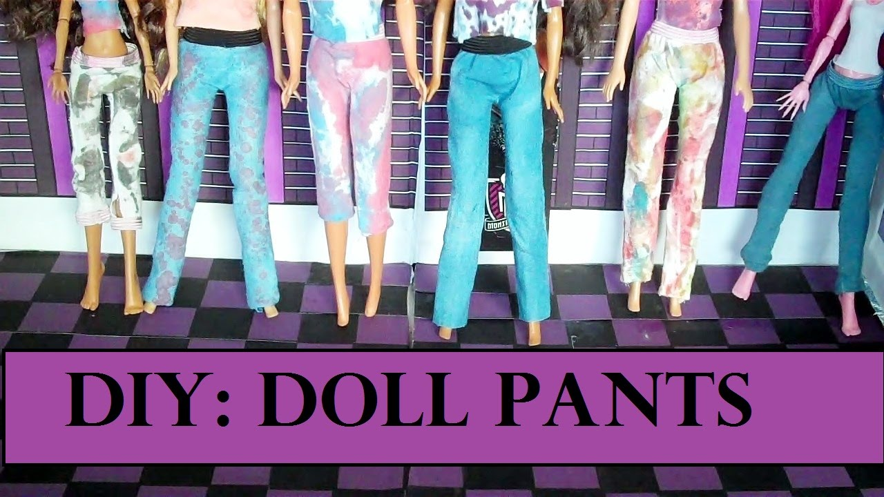 How To Make Barbie Doll Pants Doll Clothes Easy Youtube