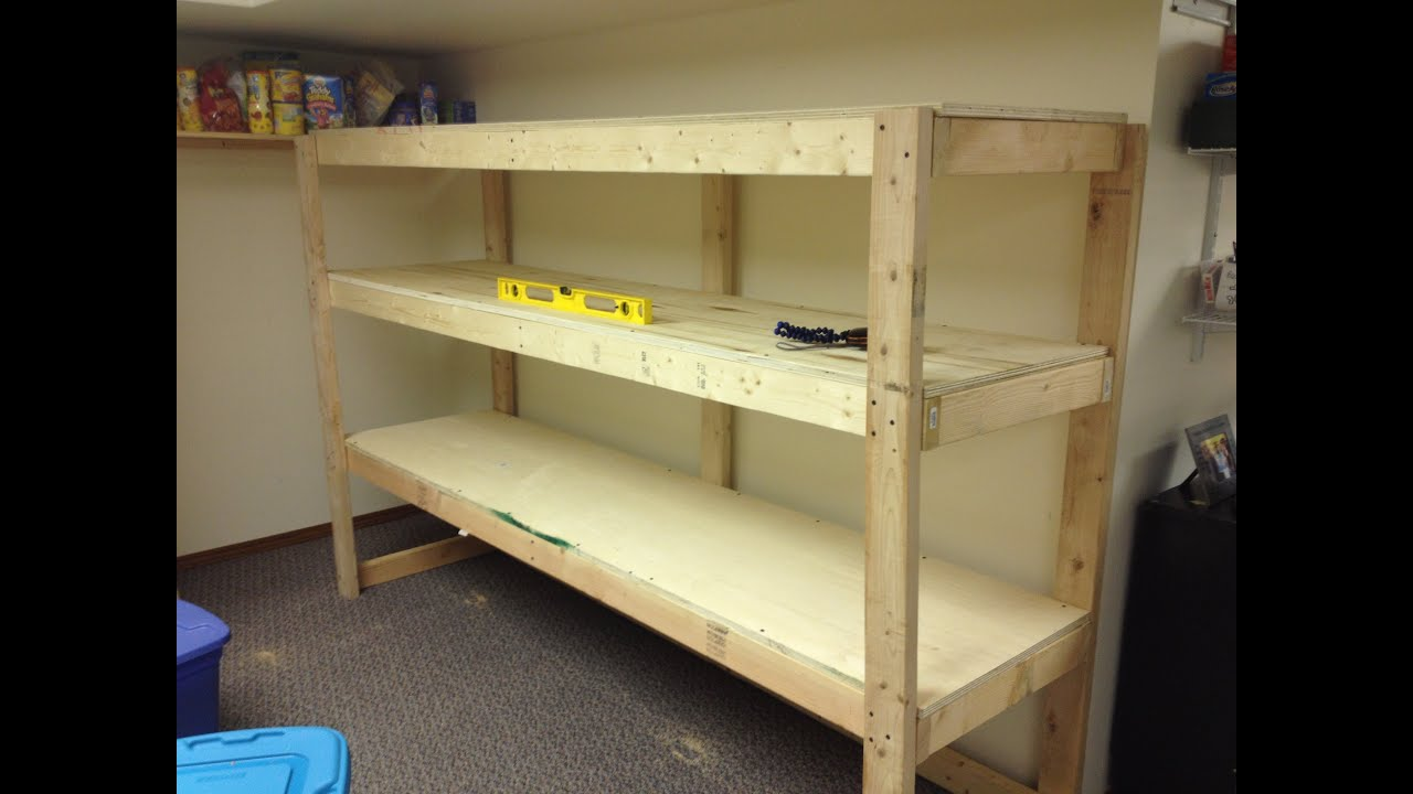 Diy Garage Shelves 2x4 Building a wooden storage shelf in the basement ...