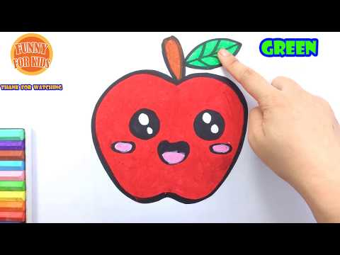 How to Draw A Cute Apple Easy | Drawing and Coloring Fruit | Funny For Kids