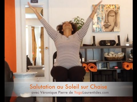 yoga sur chaise salutation au soleil youtube. Black Bedroom Furniture Sets. Home Design Ideas
