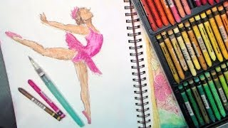 How to Draw a Ballet Dancer with Watercolor Crayons or Pastels