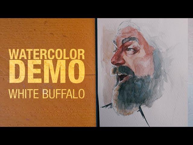 Watercolor demo - White Buffalo Portrait