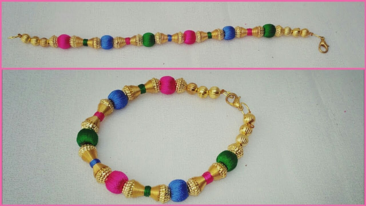 How To Make Silk Thread Bracelet With Beads At Home In Easy Way