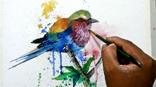 How to draw a colourful bird with watercolors