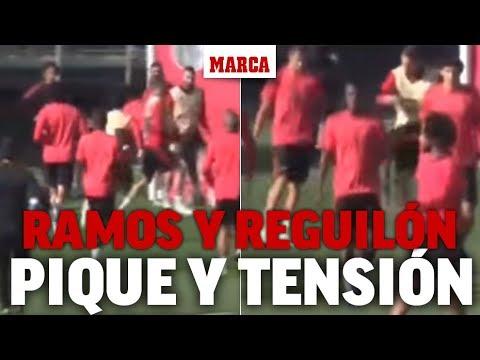 Ramos fuera de sí: le lanza dos balonazos al canterano Reguilón