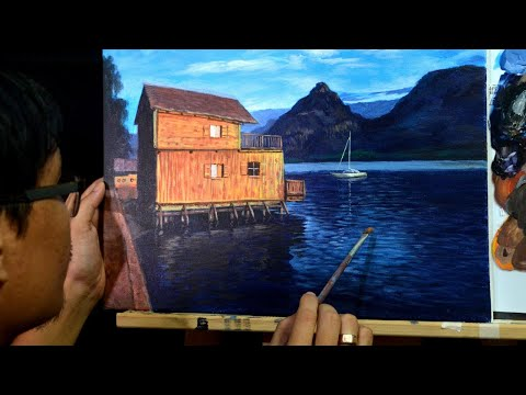 STEP by STEP Floating House on the Lake | Landscape Painting Tutorial in Acrylics