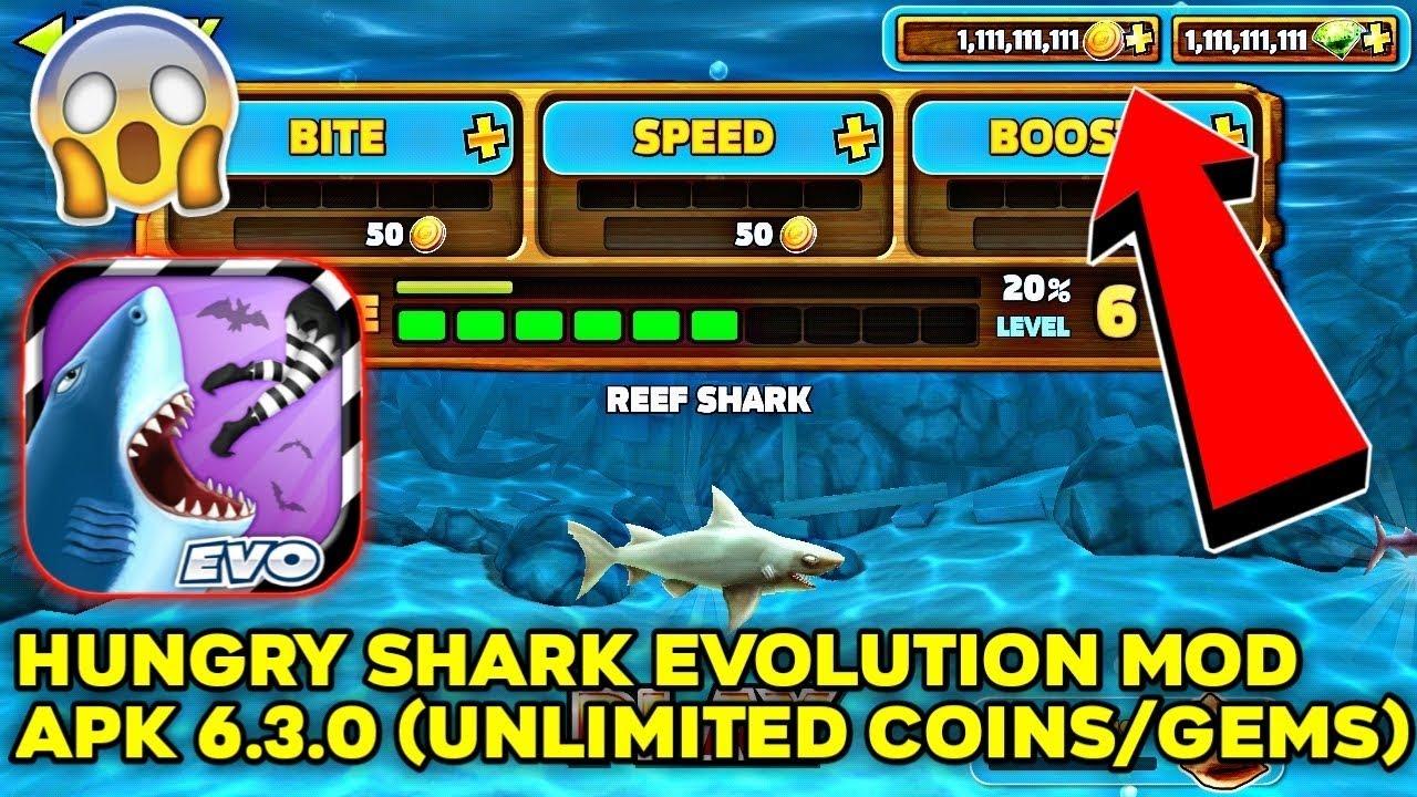 Hungry Shark Evolution Mod Apk 6 3 0 Unlimited Coins Gems Youtube